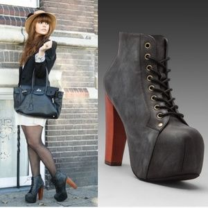 JEFFREY CAMPBELL Lita Leather Platform Booties